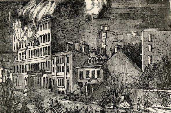 Rossin House Hotel Engraving Burning Fire