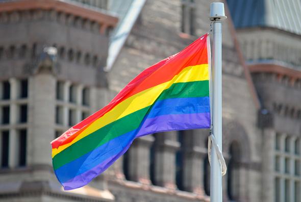 Rob Ford PFLAG rainbow Flag raising