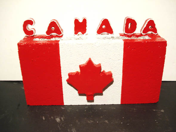 toronto maple leaf flag concrete block