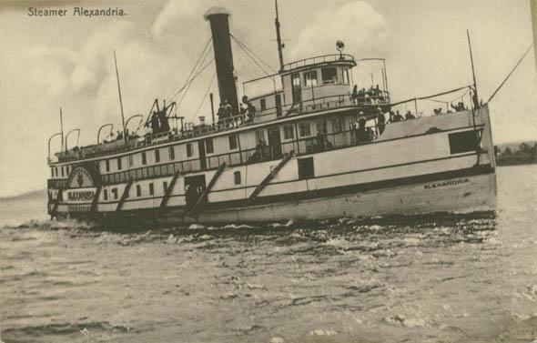 steamer alexandria sepia postcard