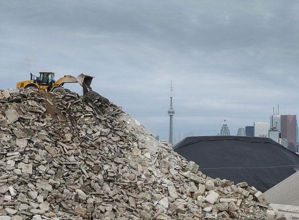 toronto port lands aggregate pile cn tower