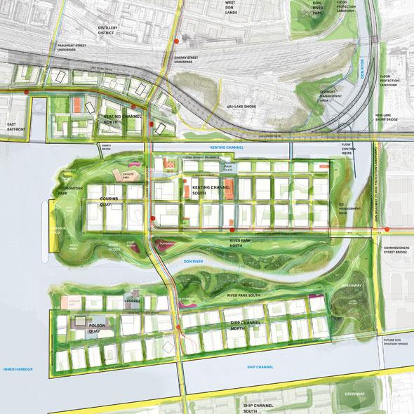 toronto waterfront revised port lands plan map