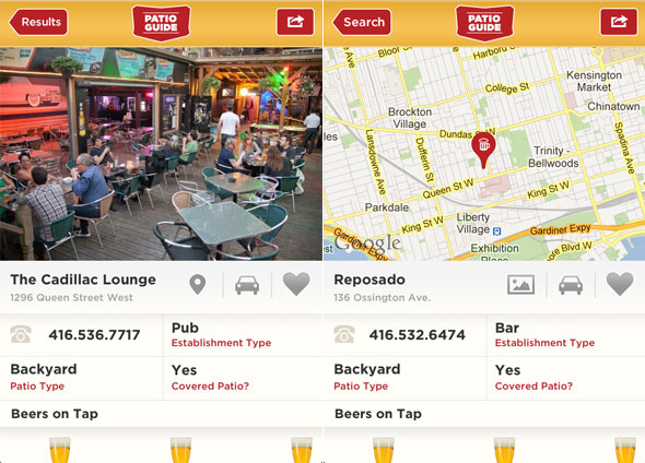 Toronto Patio Guide iphone app