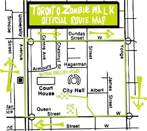 Toronto Zombie Walk Route Map