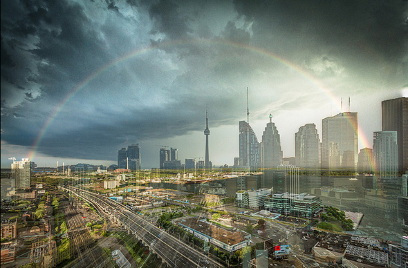 Toronto storm rainbow