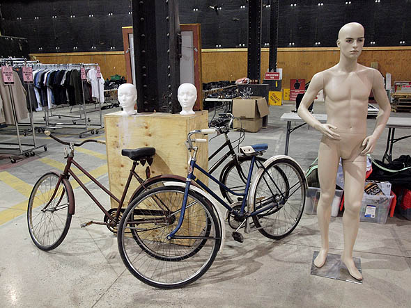 mannequin and bicycles