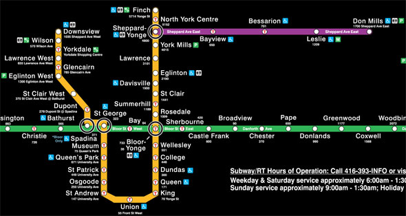 Toronto Subway Map.The Evolution Of The Ttc Subway Map