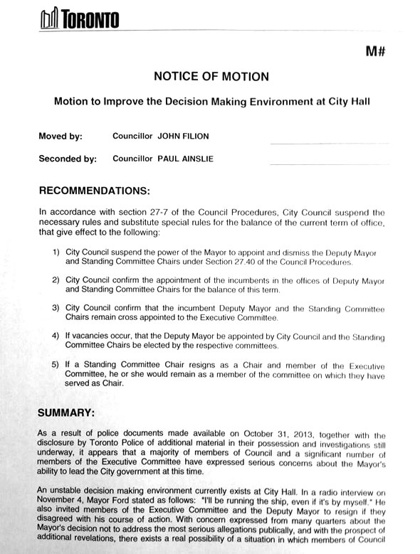 rob ford motion