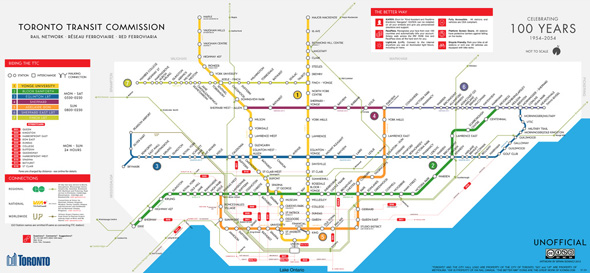 Fantasy Toronto Subway Map.New Fantasy Map Imagines The Ttc Network In 2054