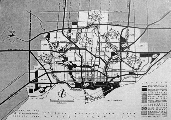 toronto highway map 1949