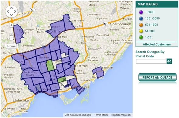 toronto blackout map