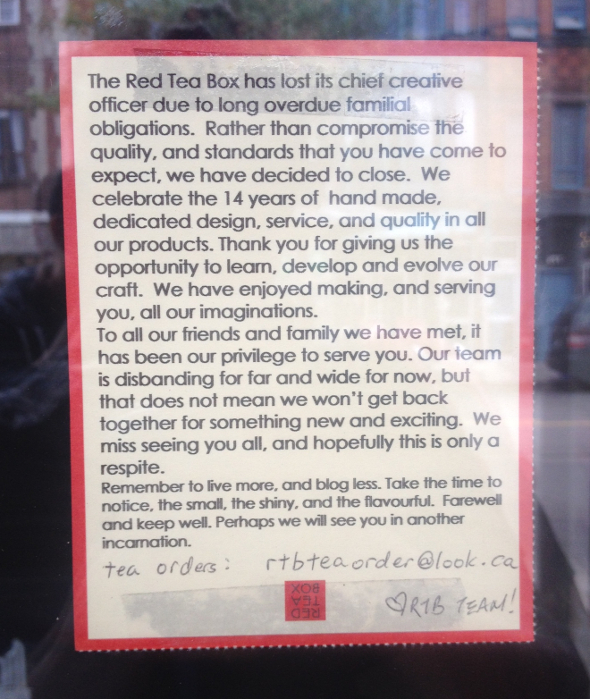 red tea box closed toronto