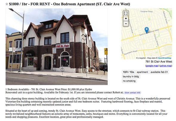toronto apartment 1000 dollars