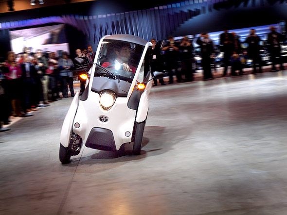 A test drive of the Toyota i-Road concept car at CIAS 2015