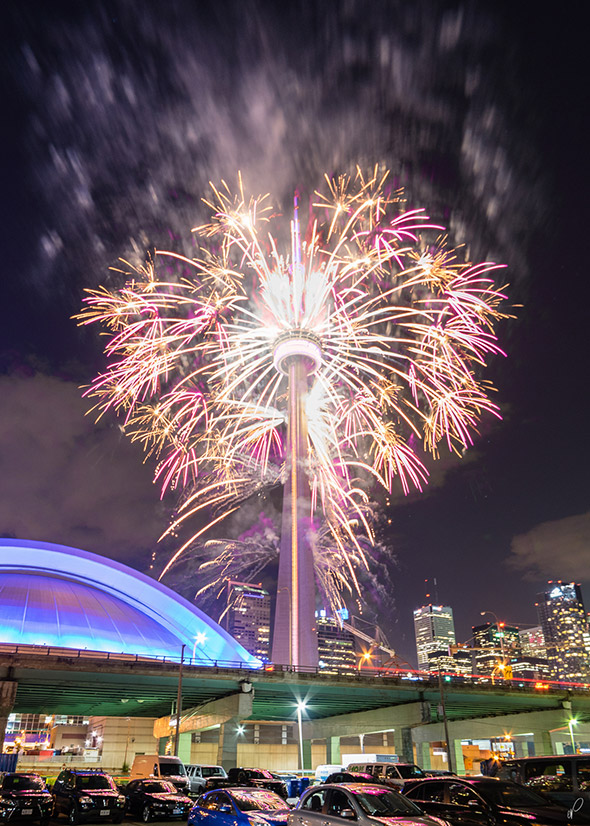 Cn Tower Set Ablaze In Fireworks For Pan Am Games