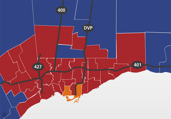 federal election results toronto 2008