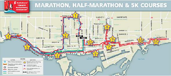 toronto marathon map