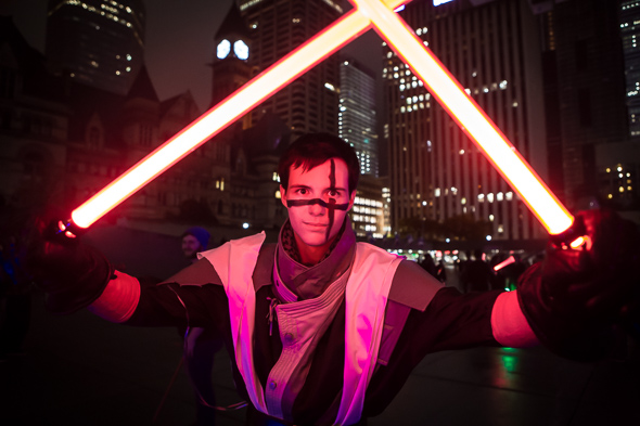 this is what a lightsaber battle looks like in toronto