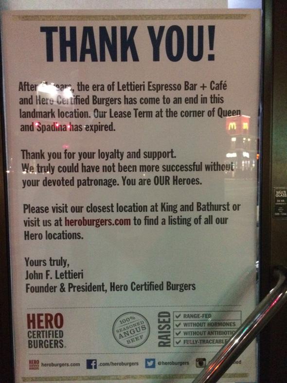 Toronto Hero Burgers closed