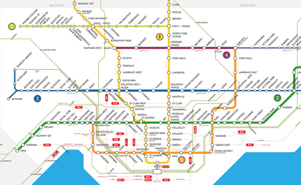 Toronto Subway Map With Streets.What The Ttc Would Look Like If Toronto Stuck To Plans
