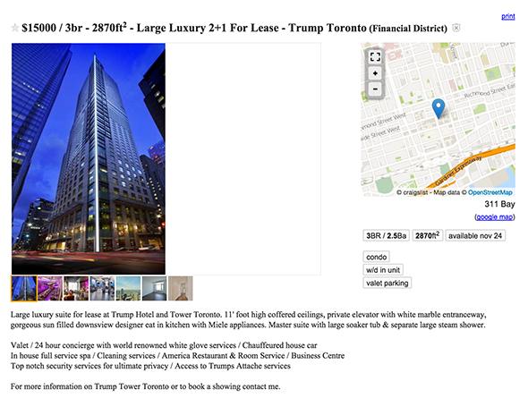 trump tower apartment toronto