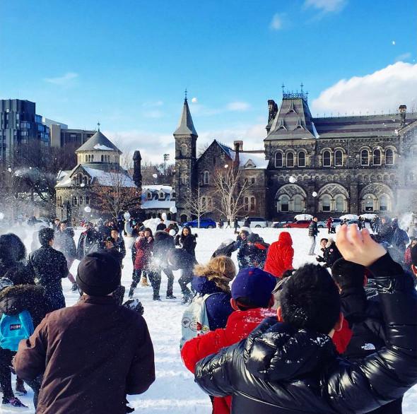 Toronto snowball fight
