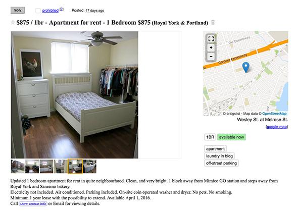 900 dollar apartment toronto
