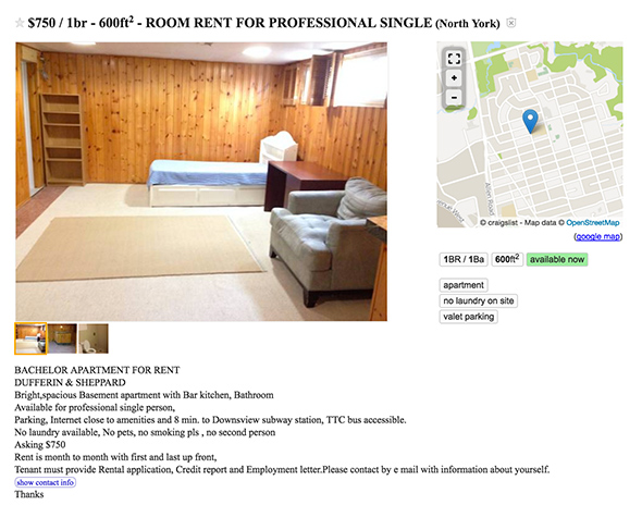 750 dollar apartment toronto