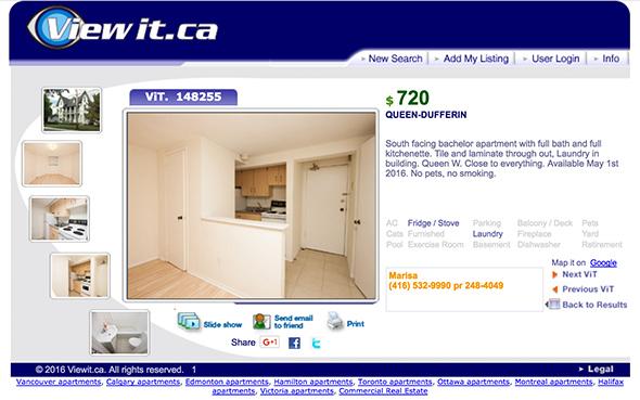 750 dollar apartment in Toronto