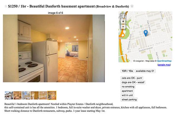 1250 dollar apartment toronto