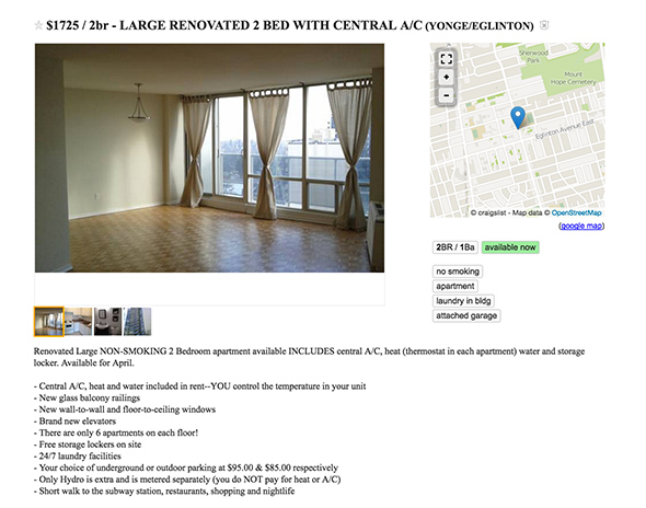 1750 dollar apartment toronto