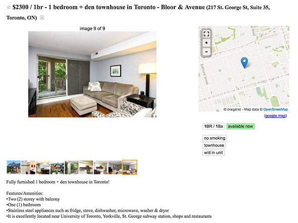 2250 dollar apartment toronto