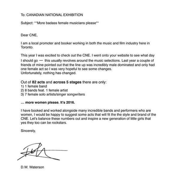 cne letter toronto